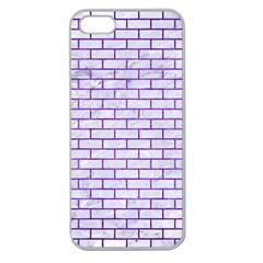Brick1 White Marble & Purple Brushed Metal (r) Apple Seamless Iphone 5 Case (clear)