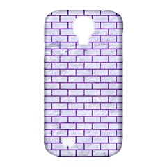 Brick1 White Marble & Purple Brushed Metal (r) Samsung Galaxy S4 Classic Hardshell Case (pc+silicone)