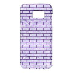 Brick1 White Marble & Purple Brushed Metal (r) Samsung Galaxy S7 Edge Hardshell Case