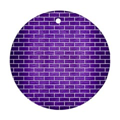 Brick1 White Marble & Purple Brushed Metal Ornament (round)