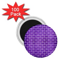 Brick1 White Marble & Purple Brushed Metal 1 75  Magnets (100 Pack)