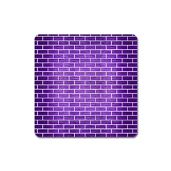 Brick1 White Marble & Purple Brushed Metal Square Magnet