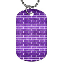 Brick1 White Marble & Purple Brushed Metal Dog Tag (two Sides) by trendistuff