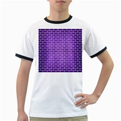 Brick1 White Marble & Purple Brushed Metal Ringer T Shirts