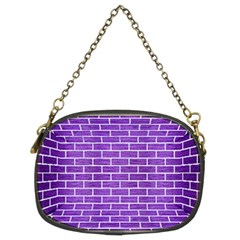 Brick1 White Marble & Purple Brushed Metal Chain Purses (two Sides)