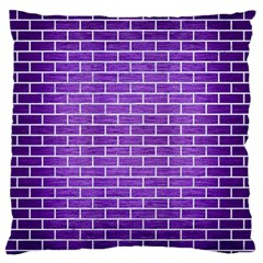 Brick1 White Marble & Purple Brushed Metal Large Flano Cushion Case (two Sides)