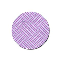 Woven2 White Marble & Purple Colored Pencil (r) Rubber Round Coaster (4 Pack)