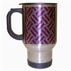 Woven2 White Marble & Purple Colored Pencil (r) Travel Mug (silver Gray)