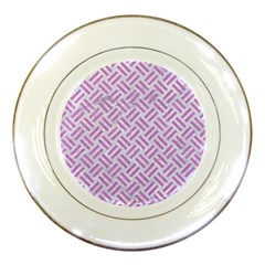 Woven2 White Marble & Purple Colored Pencil (r) Porcelain Plates