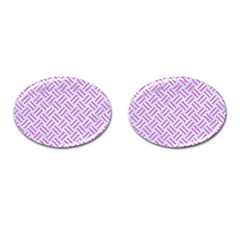 Woven2 White Marble & Purple Colored Pencil (r) Cufflinks (oval)