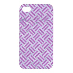 Woven2 White Marble & Purple Colored Pencil (r) Apple Iphone 4/4s Premium Hardshell Case