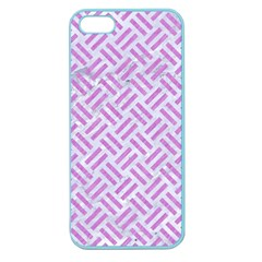 Woven2 White Marble & Purple Colored Pencil (r) Apple Seamless Iphone 5 Case (color)