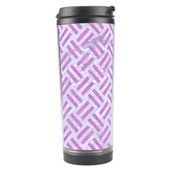 Woven2 White Marble & Purple Colored Pencil (r) Travel Tumbler