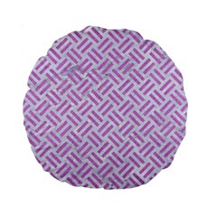 Woven2 White Marble & Purple Colored Pencil (r) Standard 15  Premium Flano Round Cushions
