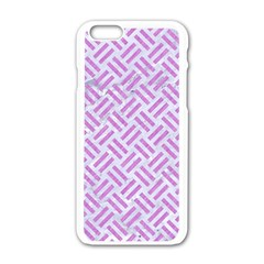 Woven2 White Marble & Purple Colored Pencil (r) Apple Iphone 6/6s White Enamel Case