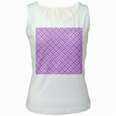 Woven2 White Marble & Purple Colored Pencil Women s White Tank Top