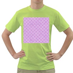 Woven2 White Marble & Purple Colored Pencil Green T Shirt