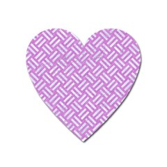 Woven2 White Marble & Purple Colored Pencil Heart Magnet