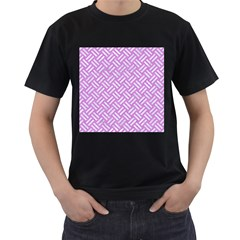 Woven2 White Marble & Purple Colored Pencil Men s T Shirt (black) (two Sided)