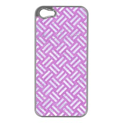 Woven2 White Marble & Purple Colored Pencil Apple Iphone 5 Case (silver)