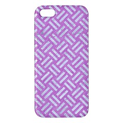 Woven2 White Marble & Purple Colored Pencil Apple Iphone 5 Premium Hardshell Case