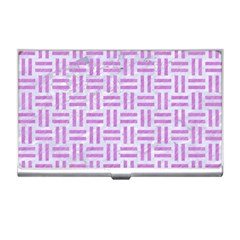 Woven1 White Marble & Purple Colored Pencil (r) Business Card Holders