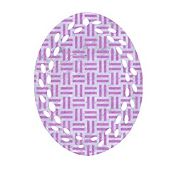 Woven1 White Marble & Purple Colored Pencil (r) Ornament (oval Filigree) by trendistuff
