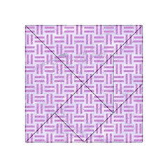 Woven1 White Marble & Purple Colored Pencil (r) Acrylic Tangram Puzzle (4  X 4 )