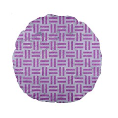 Woven1 White Marble & Purple Colored Pencil (r) Standard 15  Premium Round Cushions by trendistuff