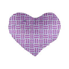 Woven1 White Marble & Purple Colored Pencil (r) Standard 16  Premium Heart Shape Cushions