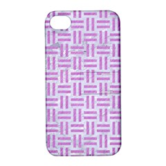 Woven1 White Marble & Purple Colored Pencil (r) Apple Iphone 4/4s Hardshell Case With Stand