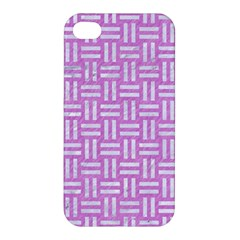 Woven1 White Marble & Purple Colored Pencil Apple Iphone 4/4s Hardshell Case