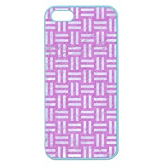 Woven1 White Marble & Purple Colored Pencil Apple Seamless Iphone 5 Case (color)