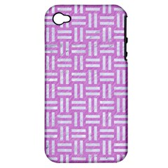 Woven1 White Marble & Purple Colored Pencil Apple Iphone 4/4s Hardshell Case (pc+silicone)