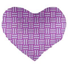 Woven1 White Marble & Purple Colored Pencil Large 19  Premium Heart Shape Cushions