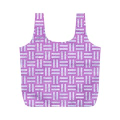 Woven1 White Marble & Purple Colored Pencil Full Print Recycle Bags (m)