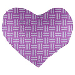 Woven1 White Marble & Purple Colored Pencil Large 19  Premium Flano Heart Shape Cushions