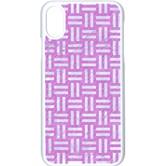 Woven1 White Marble & Purple Colored Pencil Apple Iphone X Seamless Case (white)
