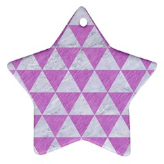 Triangle3 White Marble & Purple Colored Pencil Ornament (star)