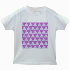 Triangle3 White Marble & Purple Colored Pencil Kids White T Shirts