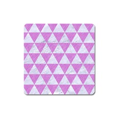 Triangle3 White Marble & Purple Colored Pencil Square Magnet