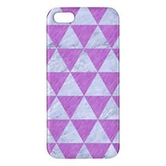 Triangle3 White Marble & Purple Colored Pencil Apple Iphone 5 Premium Hardshell Case