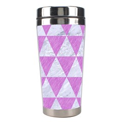 Triangle3 White Marble & Purple Colored Pencil Stainless Steel Travel Tumblers
