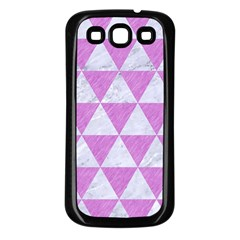 Triangle3 White Marble & Purple Colored Pencil Samsung Galaxy S3 Back Case (black)
