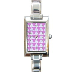 Triangle2 White Marble & Purple Colored Pencil Rectangle Italian Charm Watch