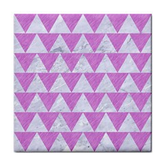 Triangle2 White Marble & Purple Colored Pencil Face Towel by trendistuff