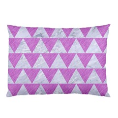 Triangle2 White Marble & Purple Colored Pencil Pillow Case (two Sides)