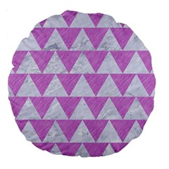 Triangle2 White Marble & Purple Colored Pencil Large 18  Premium Round Cushions