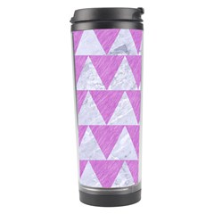 Triangle2 White Marble & Purple Colored Pencil Travel Tumbler