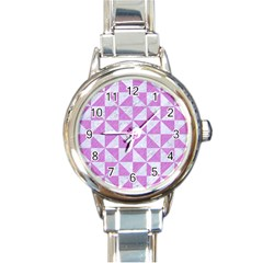 Triangle1 White Marble & Purple Colored Pencil Round Italian Charm Watch
